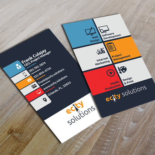 Ecity Solutions - Vertical Business Card